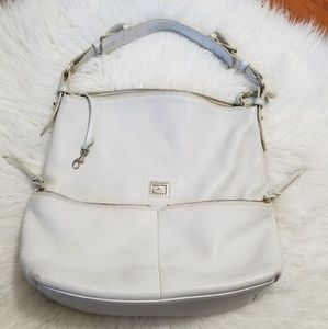 DOONEY & BOURKE IVORY COLOR LEATHER HOBO STYLE PUR